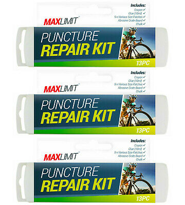 13 Piece Puncture Repair Kit Bike Cycle Travel Size Inner Tube Glue Patch Chalk • 3.99£