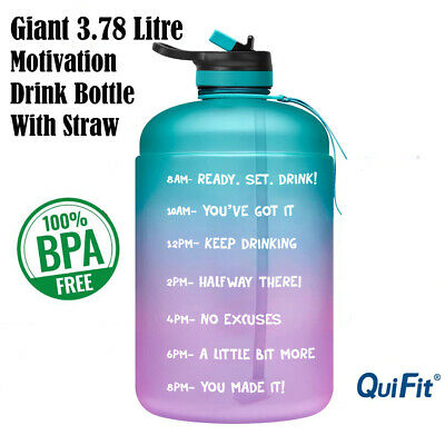 Water Bottle Motivational 3.7L Drink Flask With Time Markings BPA Free Sport Gym • 17.84£