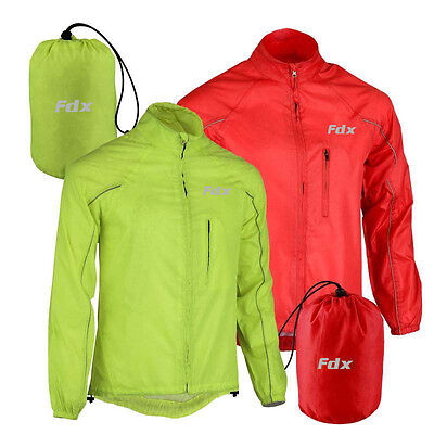 FDX Mens Waterproof Cycling Jacket Breathable Lightweight High Visibility Jacket • 19£
