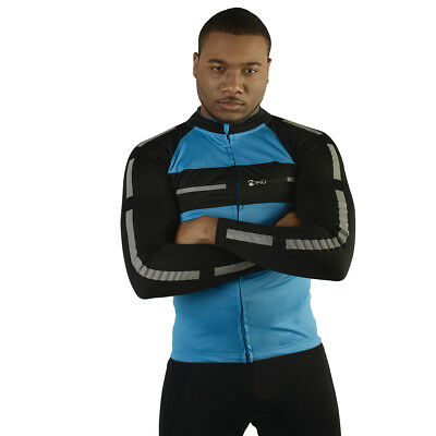 Mens More Mile Long Sleeve Blue/Black Reflective Cycling Jersey Shirt Top Size • 16.95£