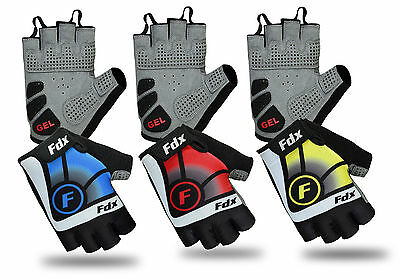 FDX New Cycling Gloves Bike Half Finger Gel Padded Fingerless Outdoor Bike Mitts • 9.65£
