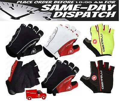 Castelli Rosso Corsa Classic HALF FINGER Gloves Cycling Bicycle Gloves • 13.99£