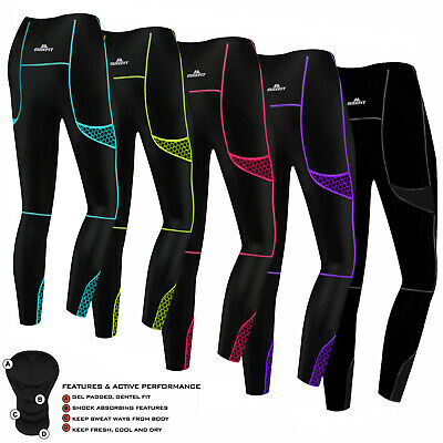 Women Ladies Cycling Tights Padded Compression Leggings Cycle Tights / Trousers • 17.99£