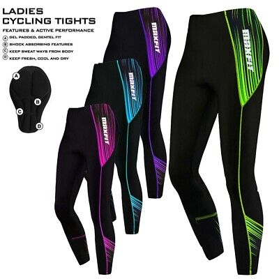 Ladies Cycling Tights Padded Women Leggings Cycle Tights / Trousers Anti-Bac Pad • 17.99£