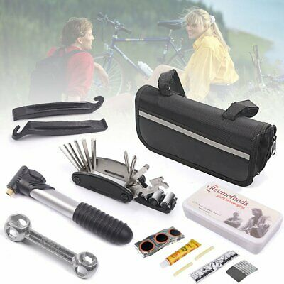 New Bike Cycle Bicycle MTB Tool Puncture Repair Kit With Pump Set Carry Case Bag • 10.99£