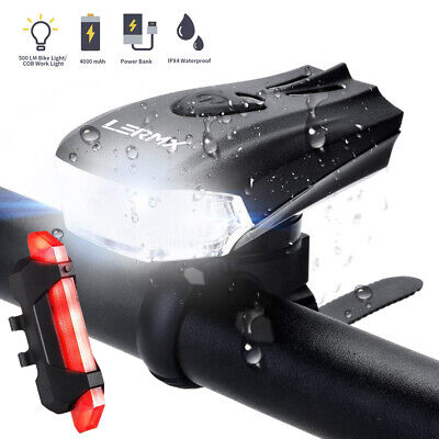 MTB Bike Bicycle Cycling USB Rechargeable LED Head Front Light/Rear Tail Lamp UK • 12.99£