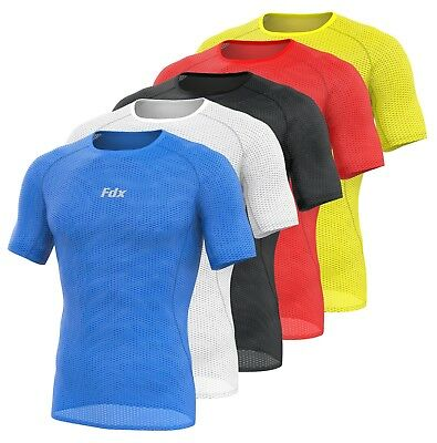 FDX Mens Half Sleeve Cool Mesh Base Layer Lightweight Running Cycling Jersey/Top • 13.85£