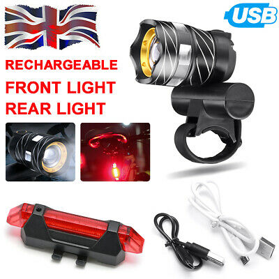T6 LED MTB Front&Rear Lights Set 15000LM Bike Bicycle Headlight USB Rechargeable • 9.99£