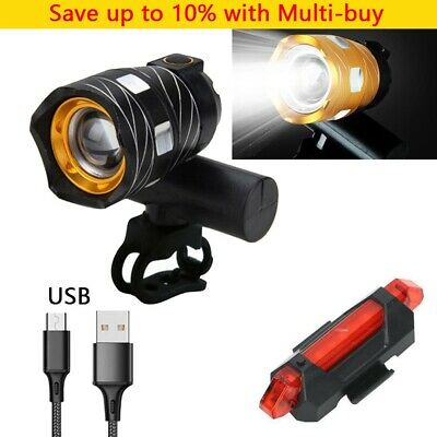 Rechargeable 15000LM XM-L T6 LED MTB Bicycle Lights Bike Front+Rear Headlight • 9.09£