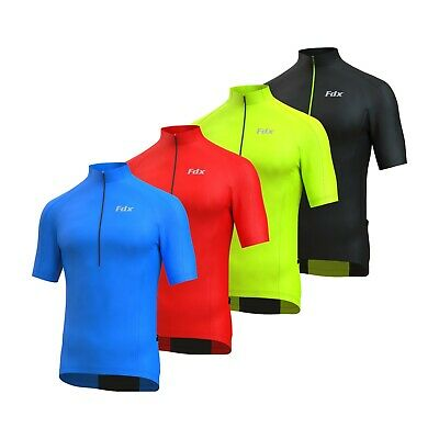 FDX Half Sleeve Cycling Jersey With Short Zipper, Hi Vis Back & Zipped Pocket • 14.98£