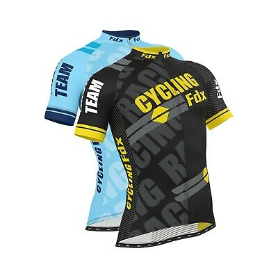 FDX Men Cycling Jersey Half Sleeve Top Cycle Racing Team Breathable Biking Shirt • 18.49£
