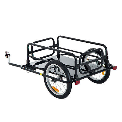 Steel Bicycle Cargo Trailer Attachable Carrier Wheels Transport Hitch Reflectors • 142.48£