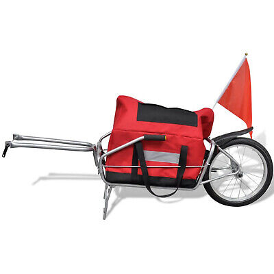 One Wheel Bicycle Cargo Trailer Trolley With Storage Bag Bike Accessories Red  • 75.99£