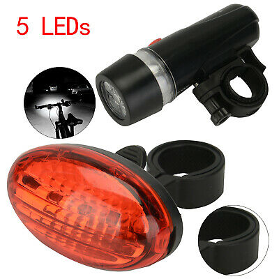 5 LED Bike Bicycle Cycle Front And Rear Back Tail Light Lights Waterproof Bright • 5.19£