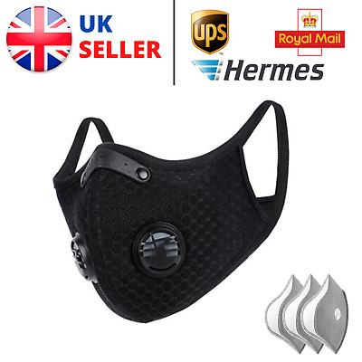 Face Mask Anti-Pollution - Cycling Commuting Running - X3 Active Carbon Filters • 12.99£