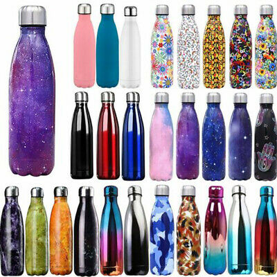 Stainless Steel Water Bottle Double Wall Vacuum Insulated Gym Metal Flask Sports • 10.59£