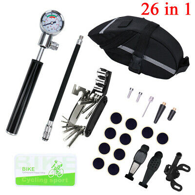Bicycle MTB Repair Tools Kit Set Mountain Bike Cycle Puncture Tyre Pump With Bag • 20.89£