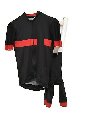 Cycling Jersey And Bibshorts Set Black And Red Lycra  • 75£