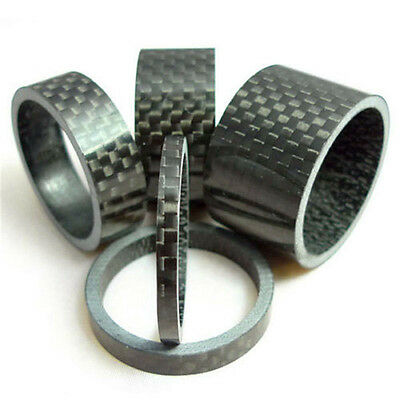 5Pcs Bicycle Handle Bar Stem Carbon Fiber Gloss Spacer 1-1/8   3/5/10/15/20mm • 5.58£