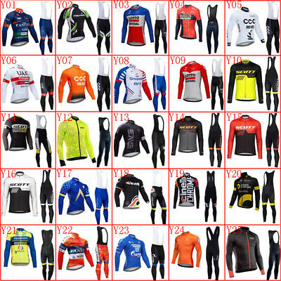 2020 Men Cycling Jersey Set Long Sleeve Bike Shirt Bib Pants Suit Sports Uniform • 23.96£