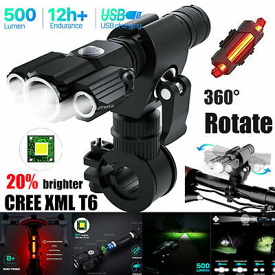 LED Rechargeable Mountain Bike Lights 18650 Bicycle Torch Front Rear Lamp Set • 11.99£