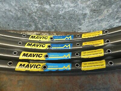 Vintage Sets(4) Mavic OPEN CD 4 Dark Anodized Clincher Rims Rimset 36h 700C • 8.50£