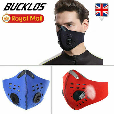 Activated PM2.5 Mouth Face Mask Carbon Filter Air Valve Reusable Anti Fog Masks • 5.49£