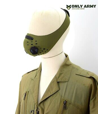 Army Style Double Valve Face Mask Carbon Filter Olive Neoprene Vent Covering OD • 6.99£