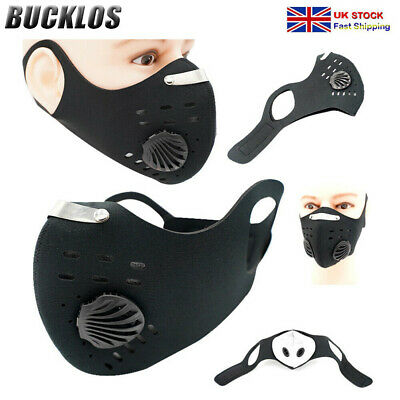 UK Air Valve Washable Face Mouth Mask Reusable Powerful Filter Cycling Protect • 5.99£