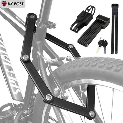 Folding Bike Cable Lock Strong Heavy Duty Cycle Security Bicycle Steel Locks • 11.99£