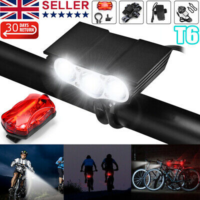 Rechargeable LED Mountain Bike Lights 20000LM Bicycle Torch Front &Rear Lamp Set • 15.99£