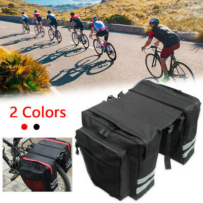 Waterproof Double Panniers Bag Bike Bicycle Cycling Rear Seat Trunk Rack Pack • 7.79£