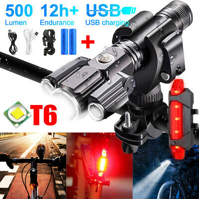 Mountain Bike Lights T6 LED Rechargeable 18650 Bicycle Torch Front Rear Lamp Set • 15.99£