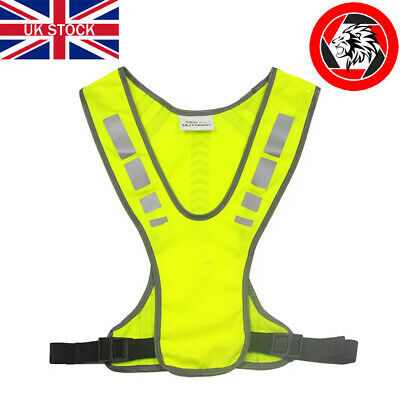 Reflective High-Vis Adjustable Cycling Running Safety Vest With Phone Pocket • 6.99£