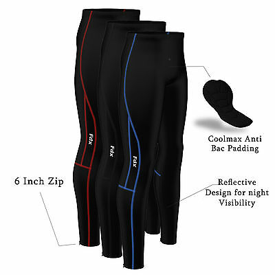 FDX Mens Compression Cycling Tights Coolmax® Padded Cycle Leggings Long Pants • 18.65£