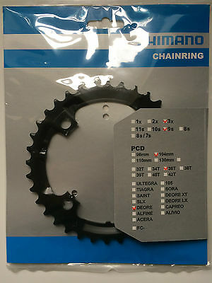Shimano 36T Mega 9 Speed Chainring Deore FC-M590 M591 Black Y1LD98090 104mm BCD • 14.49£