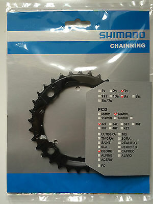 Shimano 32T Mega 9 Speed Chainring Deore FC-M590 M591 Black Y1LD98080 104mm BCD • 15.99£