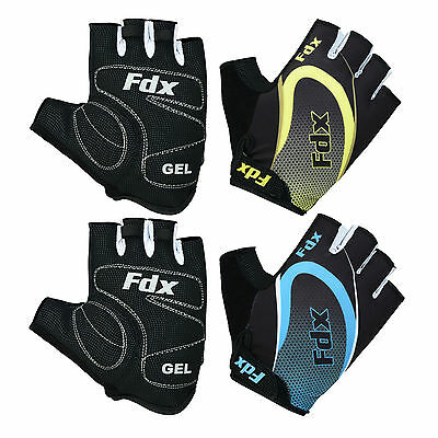 FDX Cycling Gloves Half Finger Gel Foam Padded Bike Fingerless Gloves Lightweigh • 9.95£