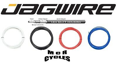 4mm Bike Outer Gear Cable & Ferrules. Jagwire LEX Housing Black Red Blue White • 3.49£