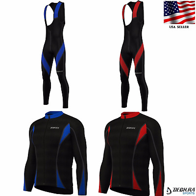 New Long Sleeves Mens Cycling Jersey + Padded Bib Tights Thermal Bike Wear • 38.01£