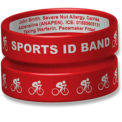 Sport ID Engraveable Wristband With Cycling Design • 13.72£