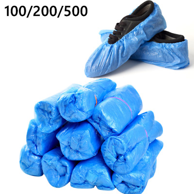 100 Disposable Plastic Blue Waterproof Shoe Covers Cleaning Overshoes Protective • 5.99£