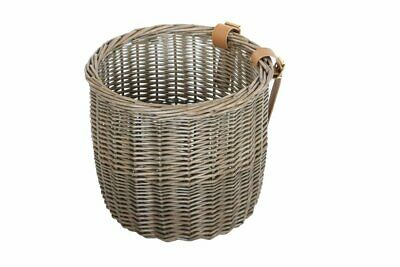 Bobbin Orchard Wicker Round Basket With Leather Straps • 14.97£