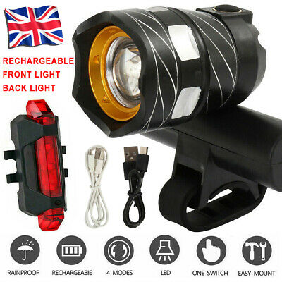 T6 LED MTB Rear&Front Set 15000LM Bicycle Lights Bike Headlight USB Rechargeable • 11.99£
