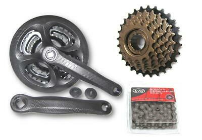 Hybrid Mountain Bike 7x3 21 Speed Drivetrain Crankset Chain Group Set Freewheel • 27.99£