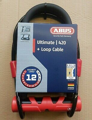 Abus Ultimate 420 + Loop Cable Padlock For Bike Bicycle Security Level 12 • 32.99£