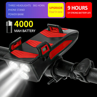 Waterproof Bicycle Front Light With 4000mAh Power Bank/Bike Horn/Phone Holder • 12.99£