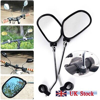 1Pair Bicycle Bike Mobility Scooter Handlebar Mirrors With Safety Reflector • 9.99£