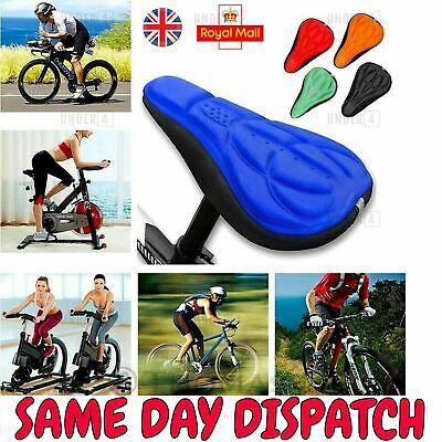 Bicycle Bike Silicone Gel 3D Saddle Seat Cover Pad Padded Soft Comfort Cushion • 3.20£