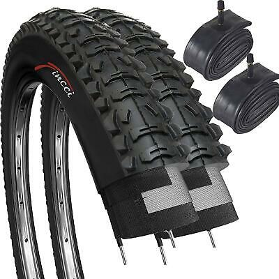 Fincci Pair 26 X 1.95 53-559 Foldable Tyres With Schrader Valve Inner Tubes • 32.90£